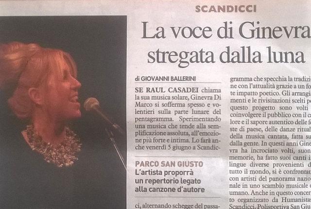 Venerdì 5 giugno 2015 Ginevra Di Marco in concerto